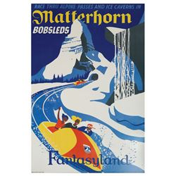 Matterhorn Bobsleds Printed Attraction Poster.