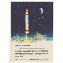 TWA Rocket Ship to the Moon Lunar Flight Certificate.