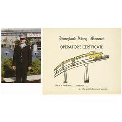 Monorail Operator Certificate & Photo.