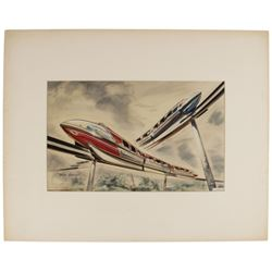 """Signed John Hench """"Crossing Monorails"""" Print."""