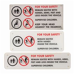 Set of (3) Attraction Vehicle Safety Signs.