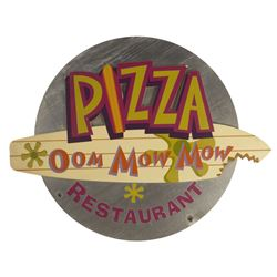 Pizza Oom Mow Mow Restaurant Sign.