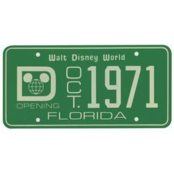 Walt Disney World Pre-Opening License Plate.