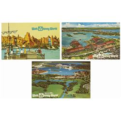 Set of (3) Walt Disney World Pre-Opening Postcards.