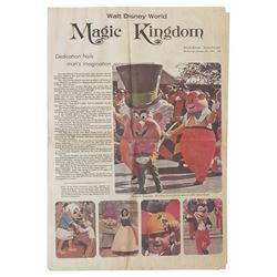 Walt Disney World Opening Day Newspaper.