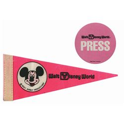 Walt Disney World Opening Pennant & Press Pass.