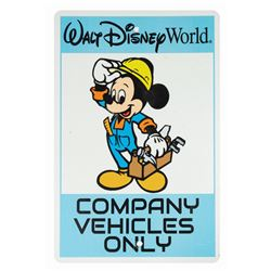 Walt Disney World Company Vehicle Parking Sign.