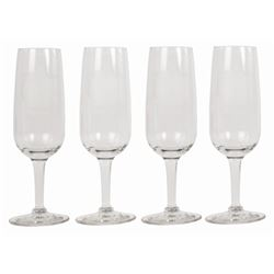 Set of (4) Top of the World Champagne Flutes.