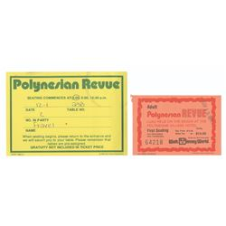 Set of (3) Polynesian Revue Tickets and Seating Card.