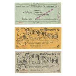 Set of (3) Walt Disney World Opening Year Tickets.