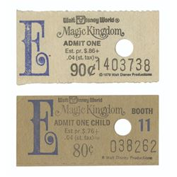 "Pair of Magic Kingdom Ticket Booth ""E"" Tickets."