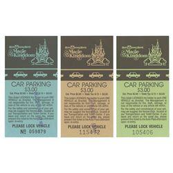 Set of (3) Magic Kingdom Car Parking Tickets.