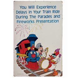 Walt Disney World Railroad Fireworks Sign.