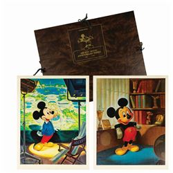 Signed John Hench Mickey Mouse Portfolio Set.