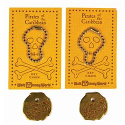 Pair of Pirates of the Caribbean Doubloon Keychains.