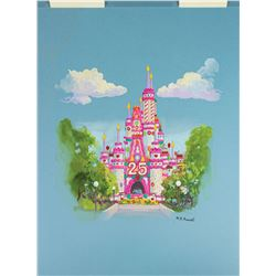 H.R. Russell Original Cinderella Castle Concept Painting.