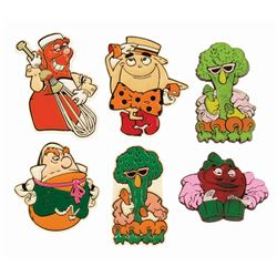 Set of (6) Kitchen Kabaret Magnets.