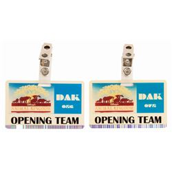 Pair of Animal Kingdom Opening Team Badges.