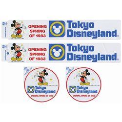 Group of (4) Tokyo Disneyland Pre-Opening Stickers.