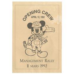 "Euro Disney Opening Crew ""Management Rally"" Program."