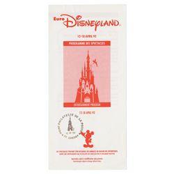 Euro Disneyland Entertainment Program Brochure.