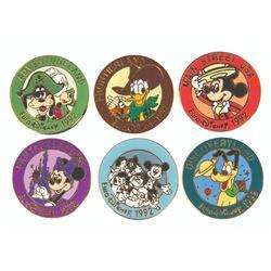 "Set of (6) Euro Disney ""Lands"" Pins in Box."