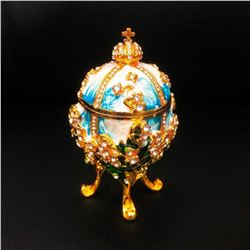 Lily Of The Valley Royal Decorated Semi Precious Stone Egg
