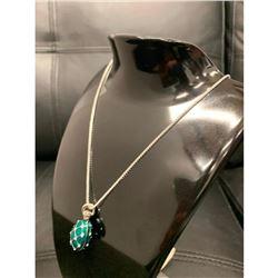 Green Enameled Faberge Egg Pendant On Sterling 925 Necklace