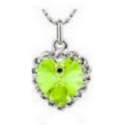 Austrian Crystal with Swarovski Elements - Bright green heart necklace