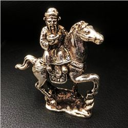 Chinese Tibetan Silver Horseman Figure