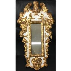 "19th C. Ornate Gold Gilt Rococo Italian Florentine Mirror With Griffins & Cherubs 24"" x13"""