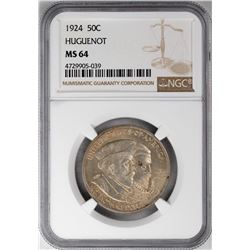 1924 Huguenot Tercentenary Commemorative Half Dollar Coin NGC MS64