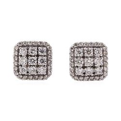 14KT White Gold 0.81 ctw Diamond Square Cluster Earrings