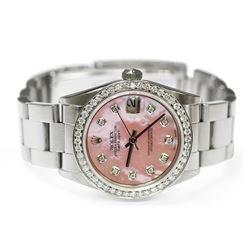 Rolex Ladies DateJust Stainless Steel 31mm MOP Diamond Dial Watch