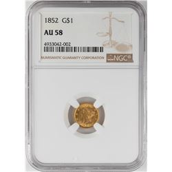 1852 $1 Liberty Head Gold Coin NGC AU58
