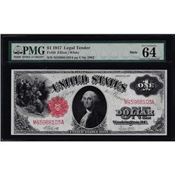 1917 $1 Legal Tender Note Fr.38 PMG Choice Uncirculated 64EPQ Mule
