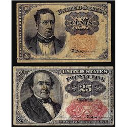 Lot of 1874 Fifth Issue Ten Cent and 25 Cent Fractional Currency Notes