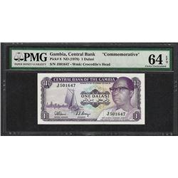 1978 Gambia Central Bank 1 Dalasi Commemorative Note PMG Choice Uncirculated 64EPQ