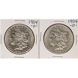 Lot of (2) 1904-O $1 Morgan Silver Dollar Coins