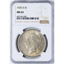 1925-S $1 Peace Silver Dollar Coin NGC MS62