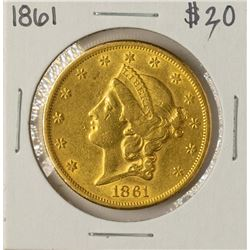 1861 $20 Liberty Head Double Eagle Gold Coin