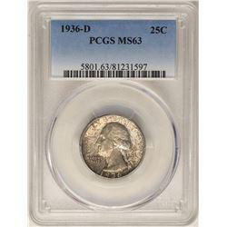 1936-D Washington Quarter Coin PCGS MS63