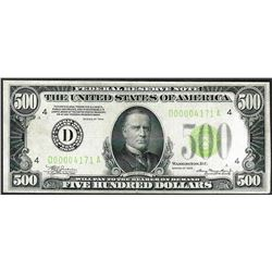 1934 $500 Federal Reserve Note Cleveland