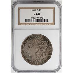 1904-O $1 Morgan Silver Dollar Coin NGC MS63 Nice Toning