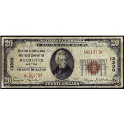 1929 $20 First NB of Rochester, NY CH# 13330 National Currency Note