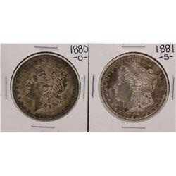 Lot of 1880-O & 1881-S $1 Morgan Silver Dollar Coins