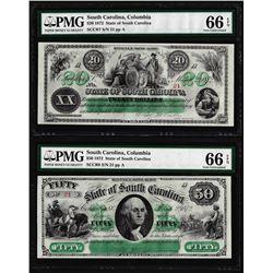 Matching Low Serial 1872 $20 & $50 South Carolina Obsolete Notes PMG Gem Unc. 66EPQ