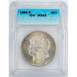 1880-S $1 Morgan Silver Dollar Coin ICG MS65