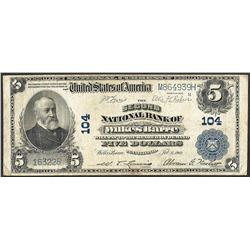 1902 $5 Second NB of Wilkes-Barre, PA CH# 104 National Currency Note