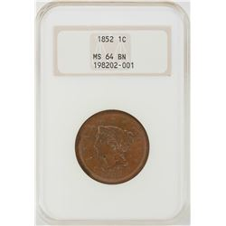 1852 Braided Hair Large Cent Coin NGC MS64BN